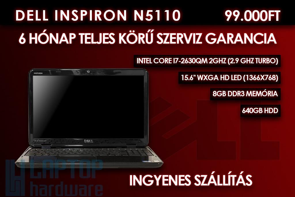 Dell Inspiron N5110 használt laptop | Intel Core i7-2730QM | 4GB RAM | 1TB HDD | Windows 7