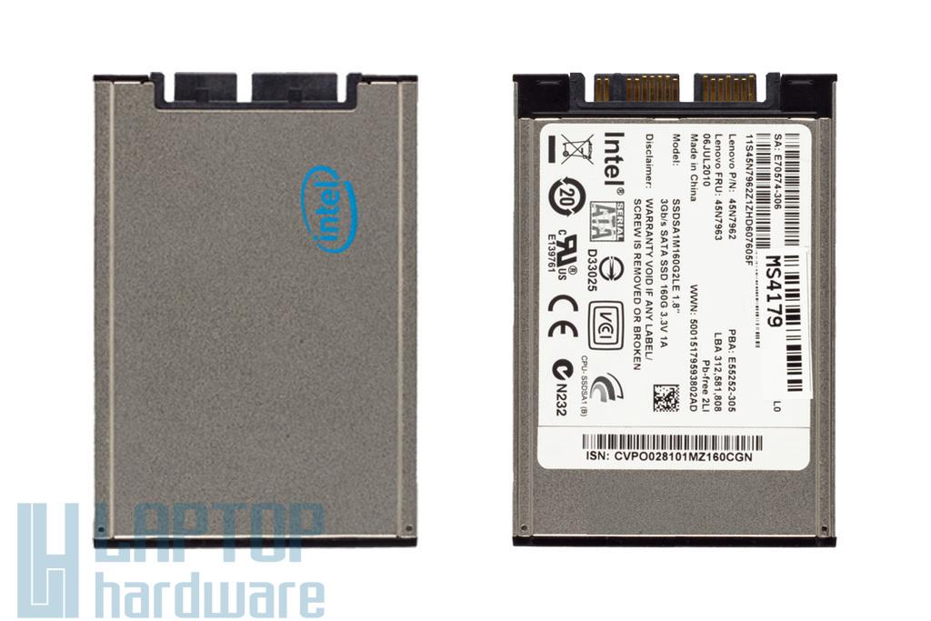 160GB 1,8'' Micro SATA2 (3Gbit/s) használt SSD (Intel) Lenovo laptopokhoz (45N7963, 45N7962)