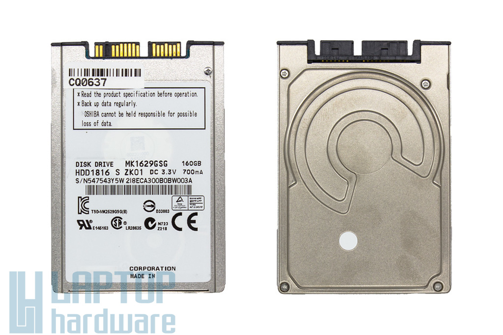 160GB 5400RPM 1,8'' SATA (3Gbit/s) gyári új laptop winchester, HDD