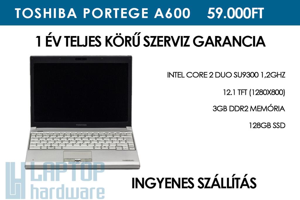 Toshiba Portege A600 használt notebook | Intel Core 2 Duo SU9300 1,2GHz | 3GB RAM | 128GB SSD | WiFi | Bluetooth |  Ujjlenyomat olvasó | Jó Akku