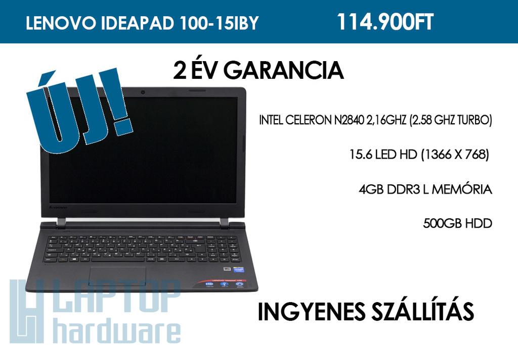 Lenovo IdeaPad 100-15IBY | Intel Celeron N2840 2,16GHz | 4GB RAM | 500GB winchester | WIFI | Bluetooth | HDMI | Webkamera | Win 10 | 2 év garancia!