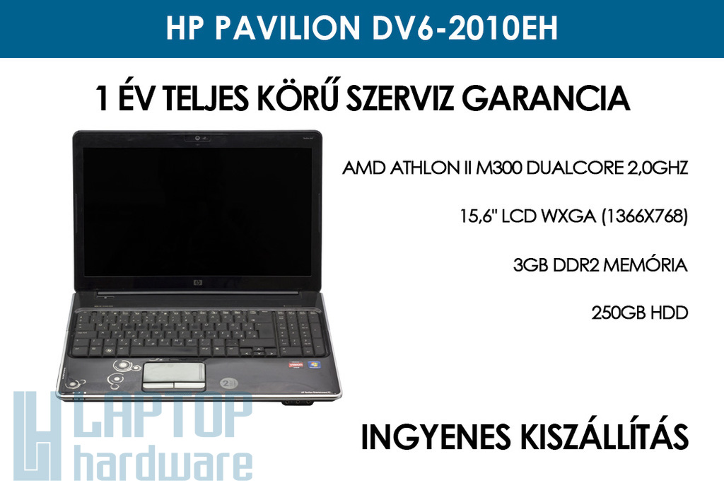HP Pavilion dv6-2010eh használt notebook | AMD Athlon II M300 DualCore 2,0GHz | 3GB RAM | 250GB HDD | WiFi