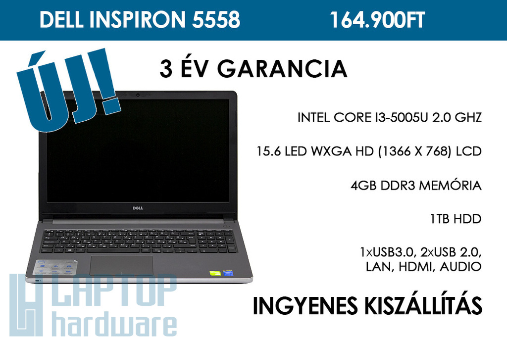Dell Inspiron 5558 (ezüst) | Intel Core i3-5005U 2.0 GHz | 4GB RAM | 1TB winchester | Nvidia GeForce 920M | WIFI | Bluetooth | HDMI | Webkamera | Win 10 | 3 év garancia!