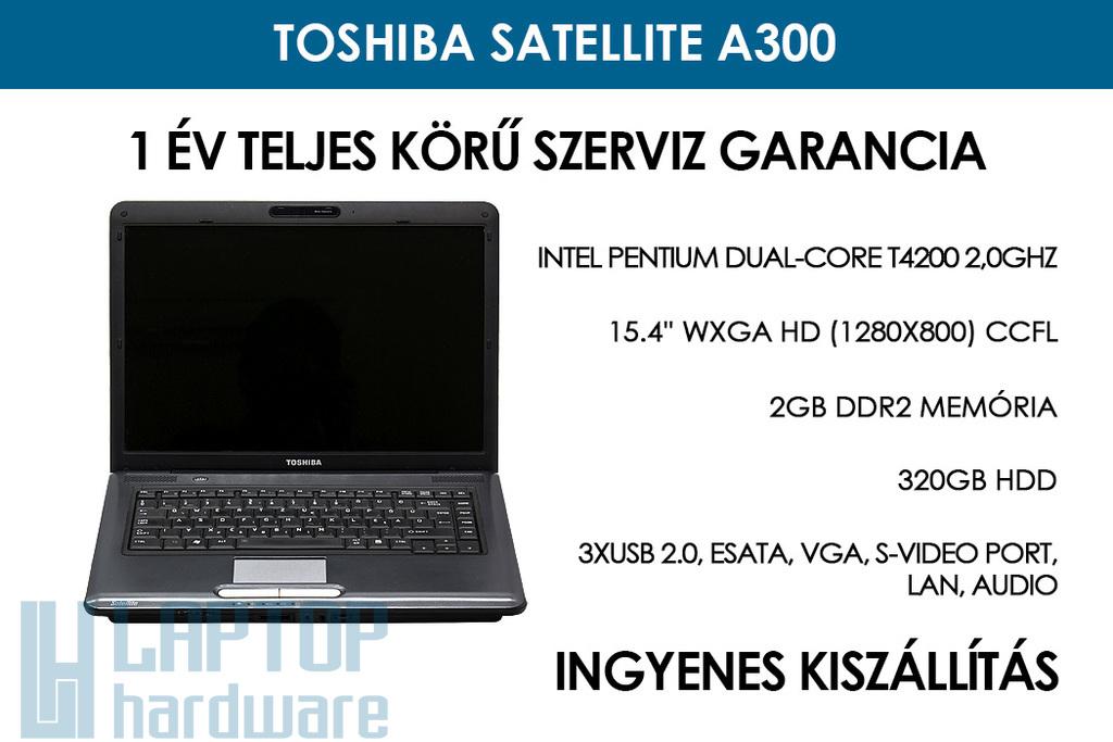 Toshiba Satellite A300 használt notebook | Intel Pentium Dual-Core T4200 2,0GHz | 2GB RAM | 320GB HDD | WiFi | FireWire | Webkamera