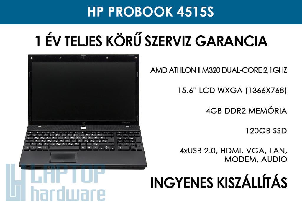 HP ProBook 4515s használt notebook | AMD Athlon II M320 Dual-Core 2.1GHz | 4GB RAM | 120 GB SSD | WiFi | Webkamera