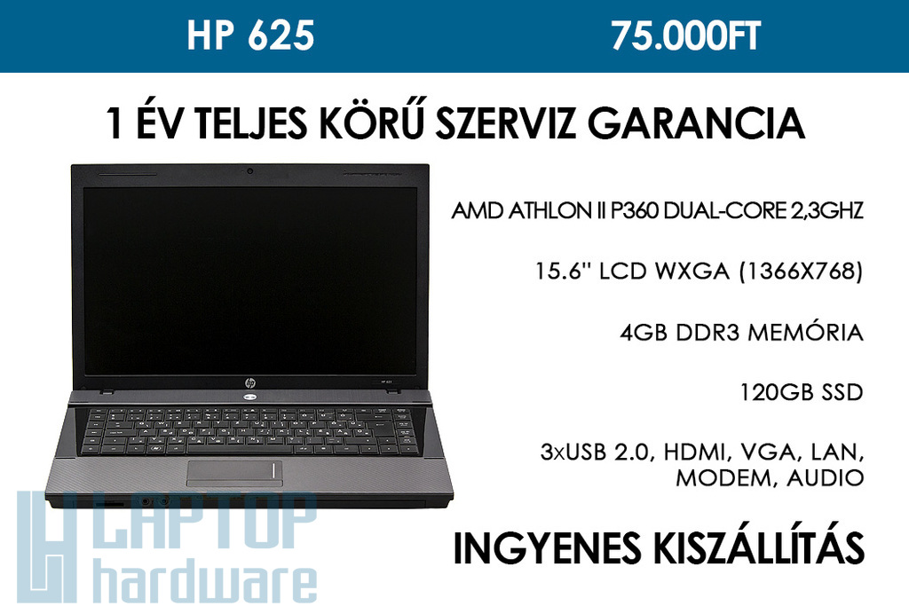 HP 625 használt notebook | AMD Athlon II P360 Dual-Core 2.3GHz | 4GB RAM | 120 GB SSD | WiFi | Webkamera | Bluetooth