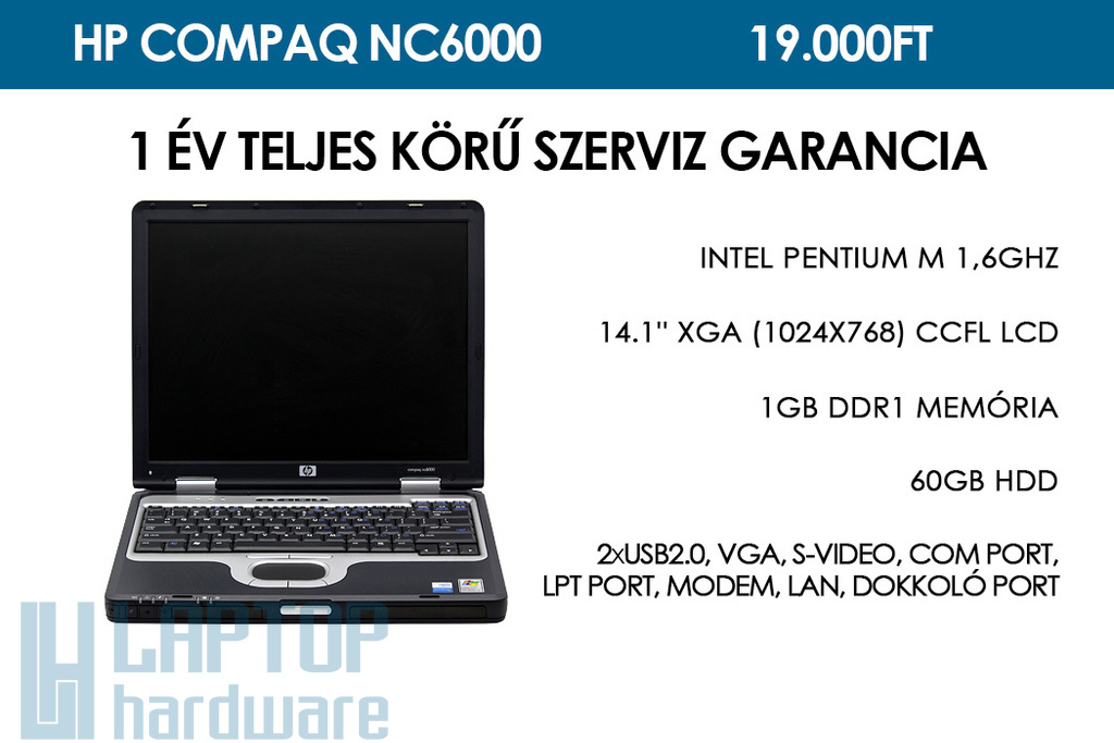 HP Compaq nc6000 használt laptop | Intel Pentium M 1,6GHz | 1GB RAM | 60GB HDD | WIFI | Bluetooth