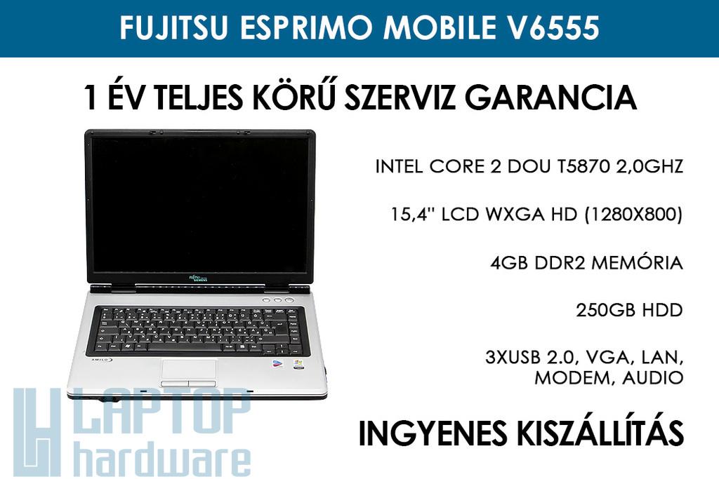 Fujitsu Esprimo Mobile V6555 használt notebook | Intel Core 2 Duo T5870 2,0GHz | 4GB RAM | 250GB HDD | WiFi | Bluetooth | Webkamera