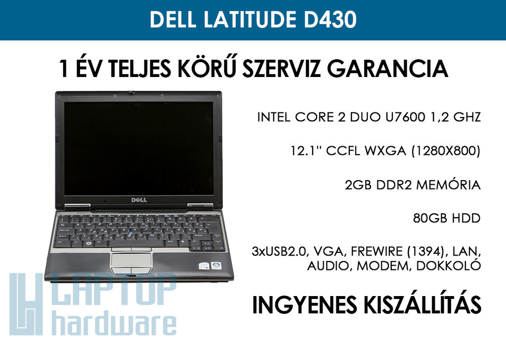 Dell Latitude D430 használt laptop | Intel Core 2 Duo U7600 | 2GB RAM | 80GB HDD | WIFI