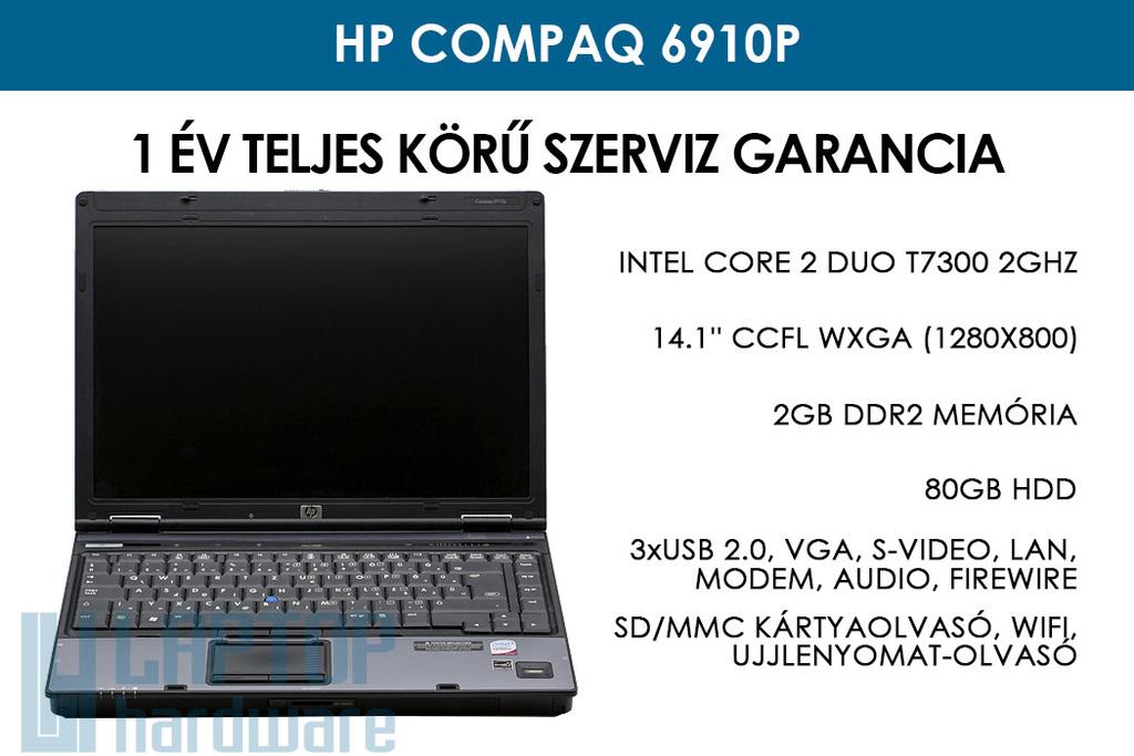 HP Compaq 6910p használt laptop | Intel Core 2 Duo T7300 | 2GB RAM | 80GB HDD | WiFi