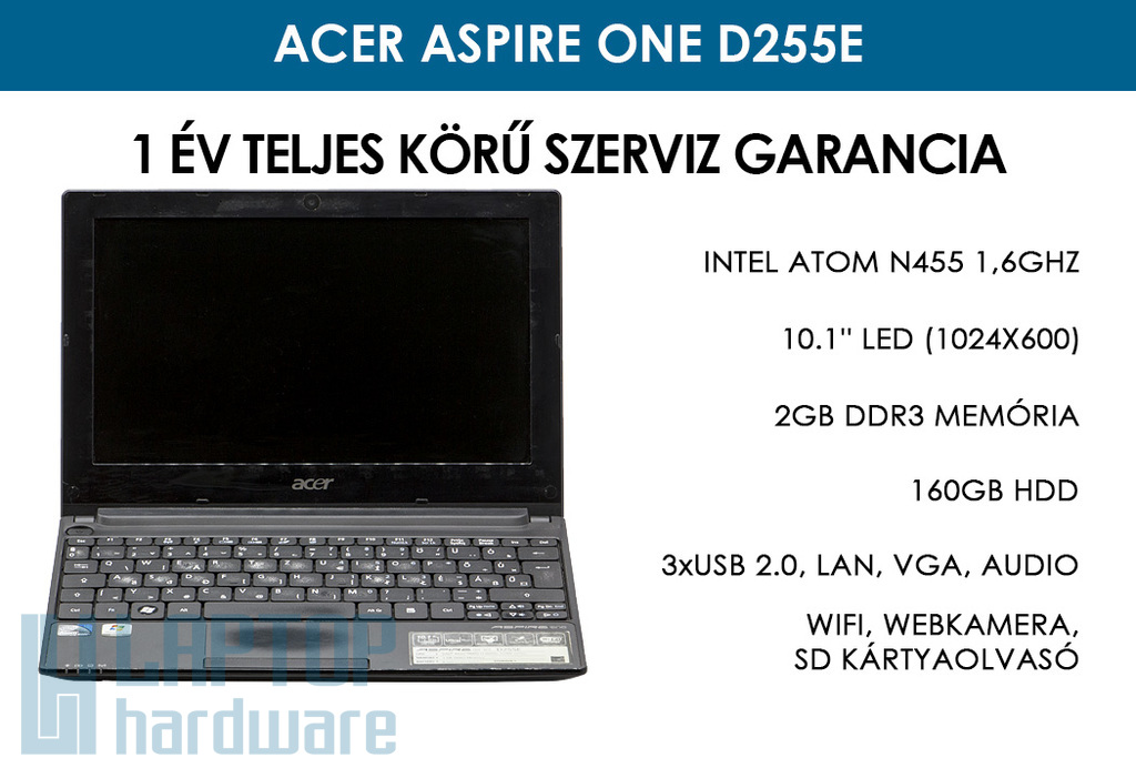 Acer Aspire One D255E használt netbook | Intel Atom N455 1 | 2GB RAM | 160GB HDD | WiFi