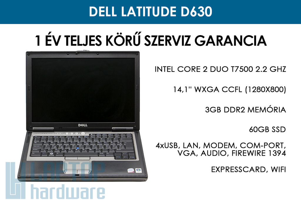 Dell Latitude D630 használt laptop | Intel Core 2 Duo T7500 2.2 GHz | 3GB RAM | 60GB SSD | WiFi