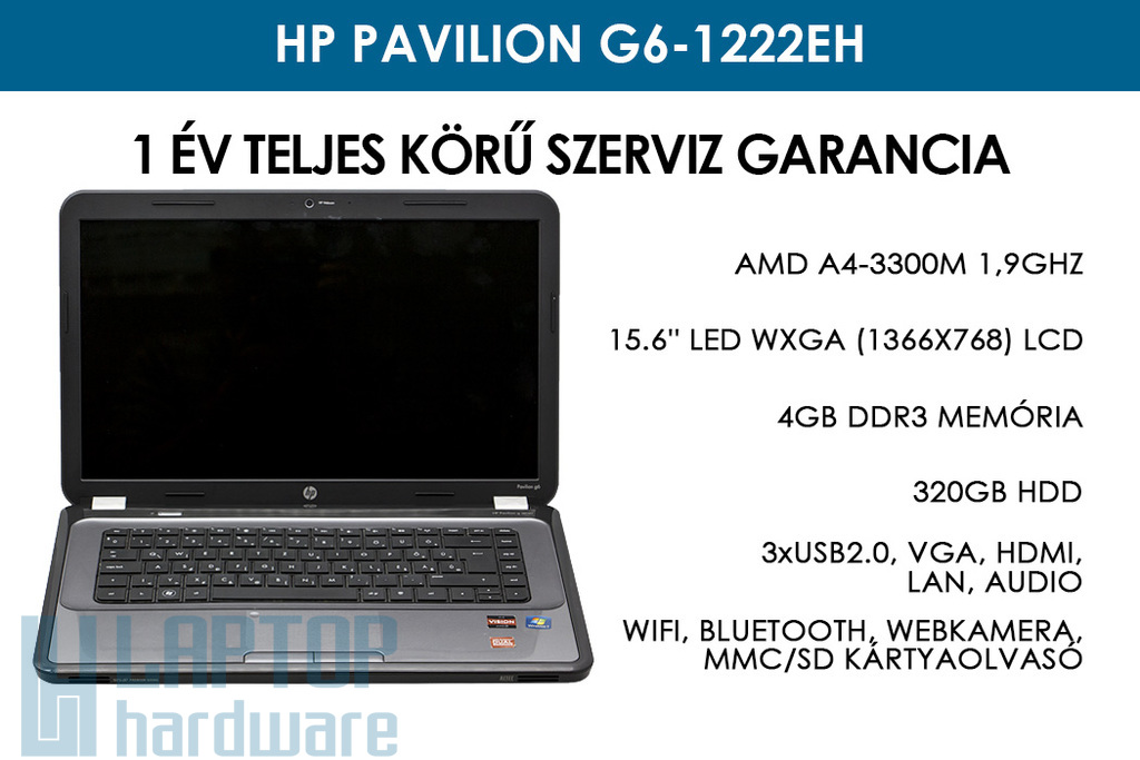 HP Pavilion g6-1222eh használt laptop | AMD A4-3300M 1,9GHz | 4GB RAM | 320GB HDD | WiFi | Bluetooth | Webkamera