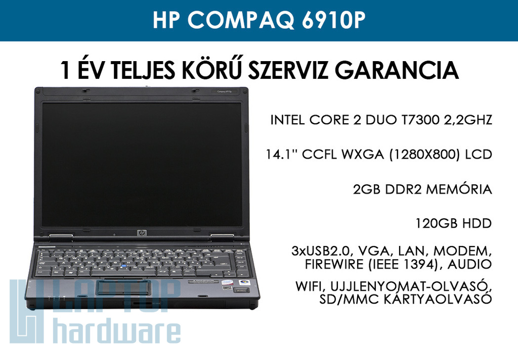 HP Compaq 6910p használt laptop | Intel Core 2 Duo T7300 2,2GHz | 2GB RAM | 120GB HDD | WiFi | Ujjlenyomat-olvasó