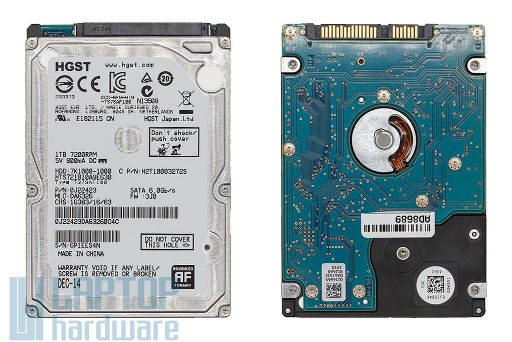 1TB 7200RPM 2,5'' SATA (6Gbit/s) használt laptop winchester, HDD