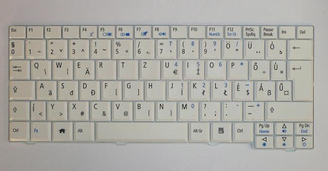 Acer Aspire One 531, A150, D150, D250, ZG5, ZG8 magyar fehér laptop billentyűzet