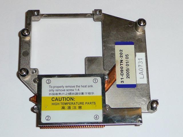 Clevo D9T használt laptop VGA hőelvezető cső