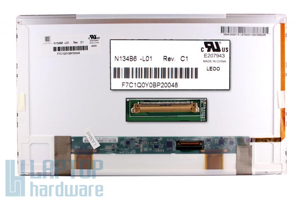 Gyári új matt 13.4'' HD (1366x768) LED laptop kijelző (csatlakozó: 40 pin - jobb) - Akciós