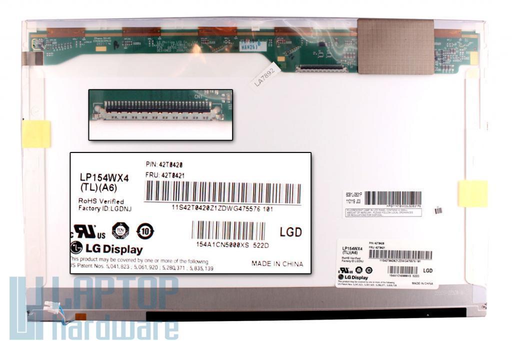 LG LP154WX4 (TL) (A6) 15.4'' WXGA CCFL laptop kijelző matt