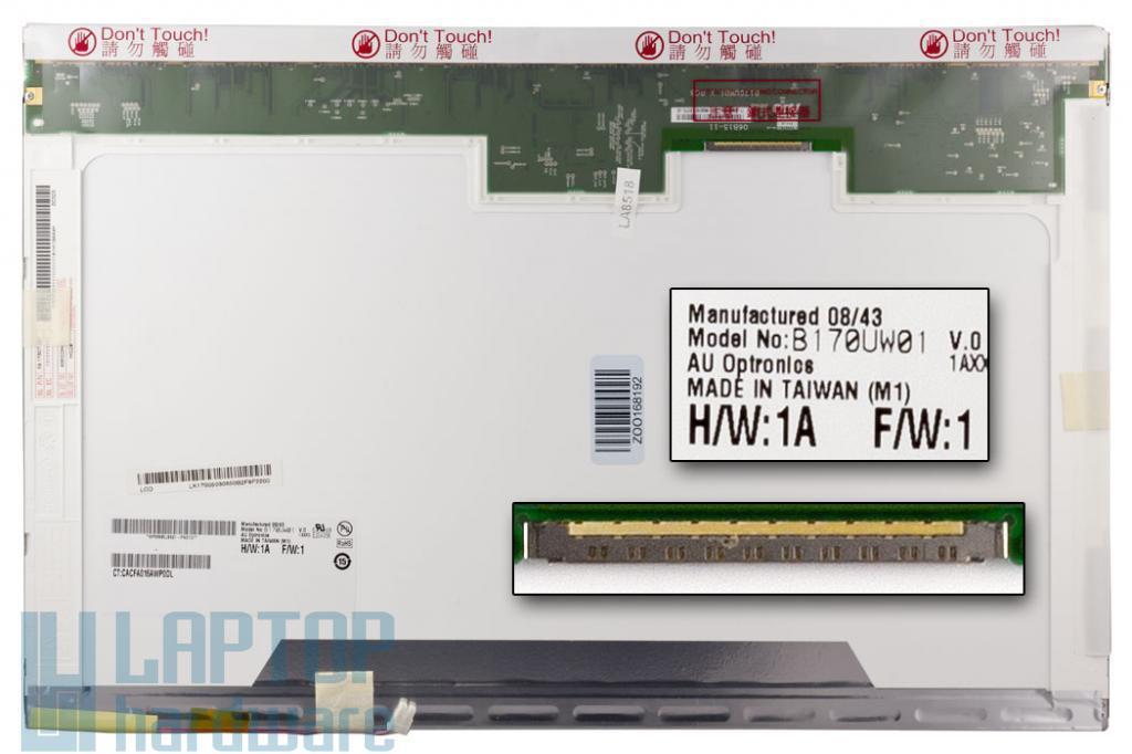 17'' B170UW01 V.0 Gyári Új 1920x1200 WUXGA matt notebook kijelző