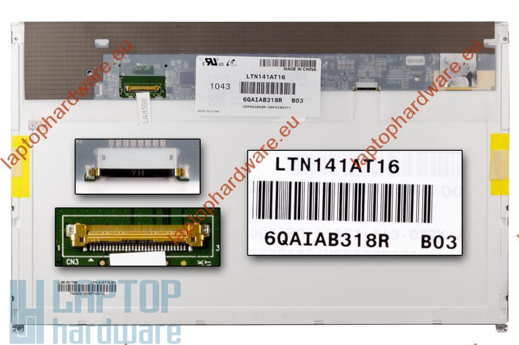Használt matt 14.1'' (1280x800) LED kijelző Dell Latitude E5410, E6410 laptopokhoz (csatlakozó: 30 pin - jobb) B kategória