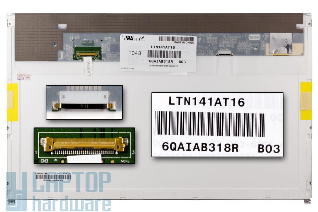 Gyári új matt 14.1'' (1280x800) LED kijelző Dell Latitude E5410, E6410 laptopokhoz (csatlakozó: 30 pin - jobb)