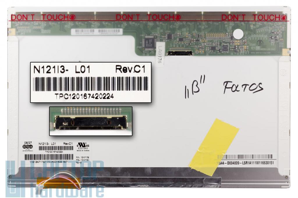 IDTech N121I3-L01 WXGA 1280*800 B osztályú, érték csökkent, foltos használt laptop kijelző