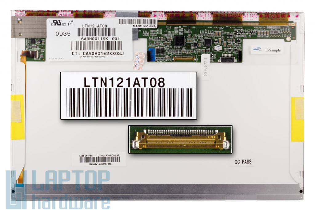 Gyári új matt 12.1'' (1280x800) LED laptop kijelző (csatlakozó: 30 pin - jobb)