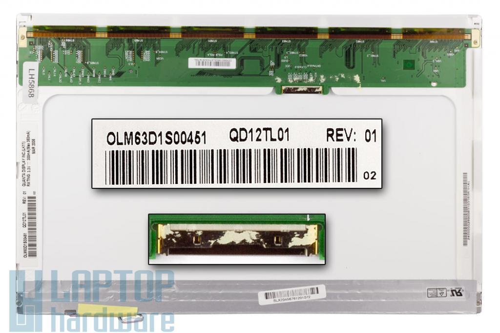 Quanta QD12TL01 (12.1 inch) WXGA 1280*800 Gyári Új fényes laptop kijelző