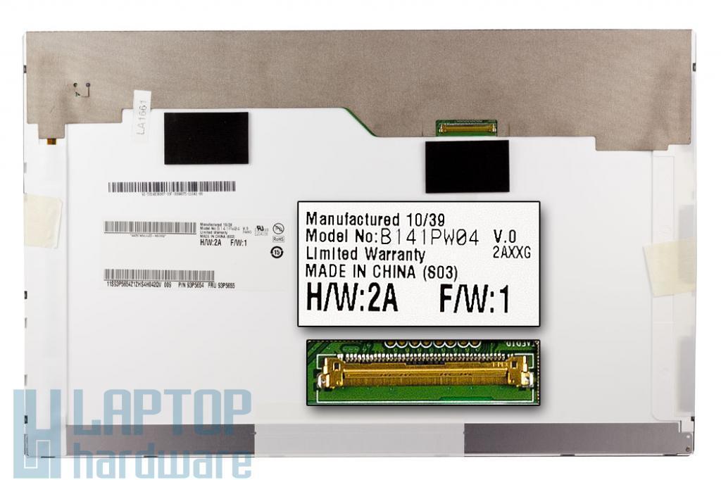 Gyári új matt 14.1'' (1440x900) LED kijelző Lenovo ThinkPad T410, T410i laptophoz (csatlakozó: 40 pin - jobb felül)