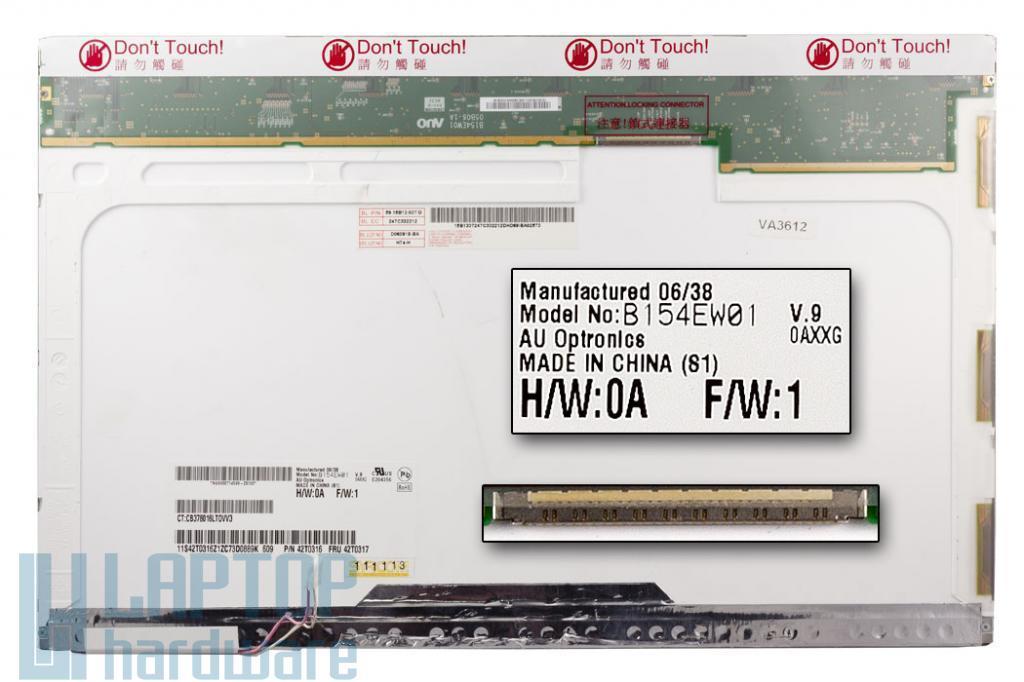 AUO B154EW01 V.9 15.4 inch WXGA  1280x800 Használt Notebook Kijelző