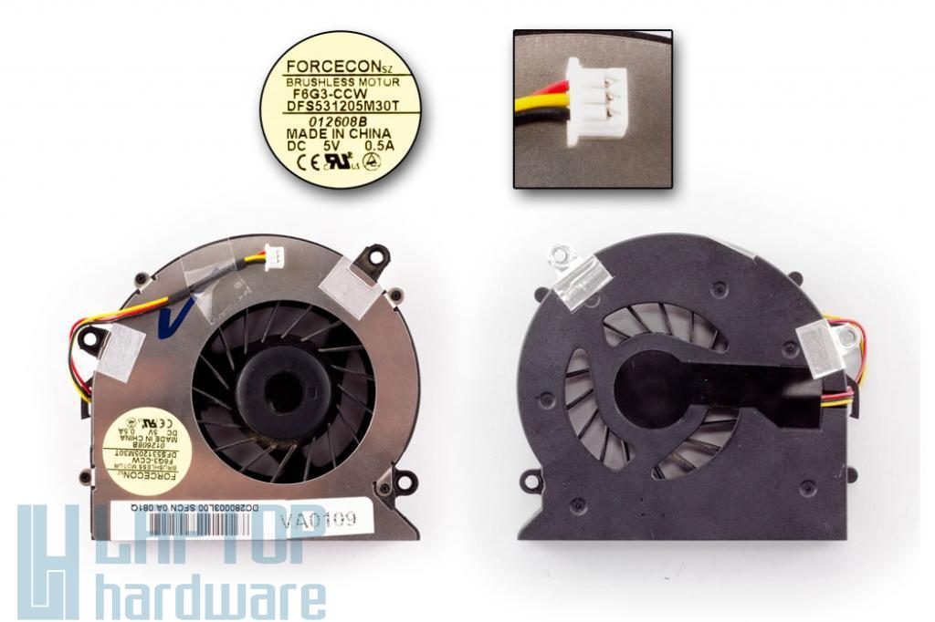 Acer Aspire 5220,5310, 5315, 5520,  5715, 5720Z használt laptop hűtő ventilátor (F6G3-CCW, DFS531205M30T)