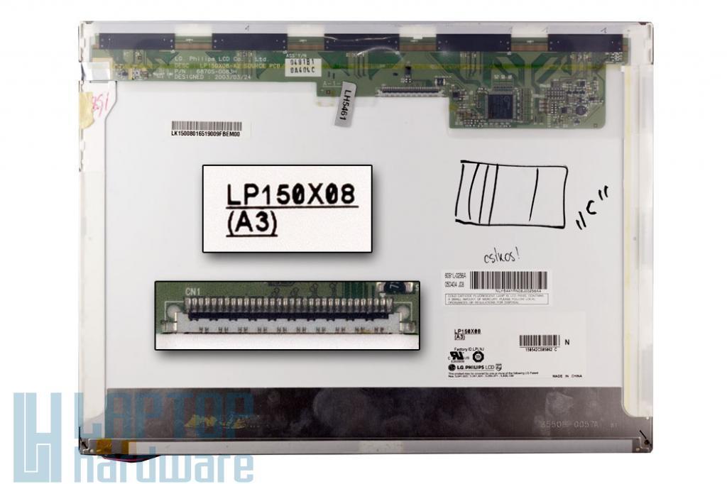 LG LP150X08-A3 XGA 1024x768 használt ''C'' kategóriás matt laptop kijelző