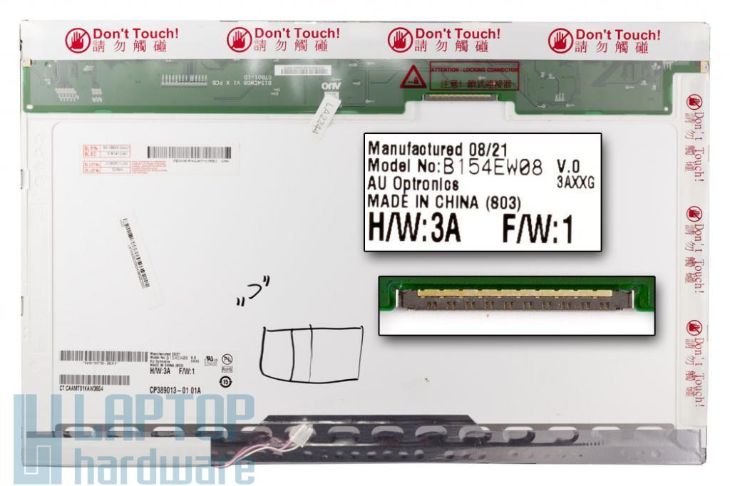 AUO B154EW08  C osztályú, érték csökkent használt laptop kijelző