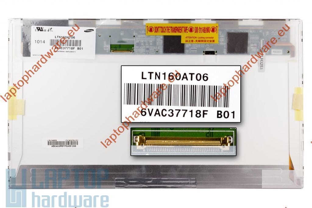 Samsung LTN160AT06 16'' használt 1366x768 HD LED fényes C kategóriás laptop kijelző