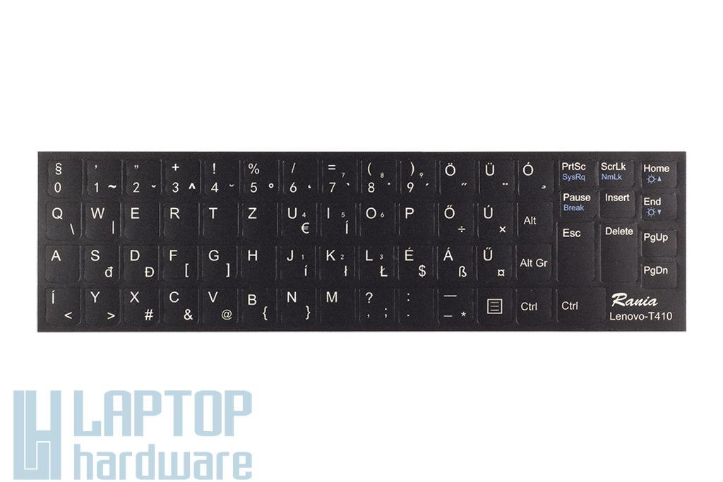 3M fekete kopásálló gyári minőségű magyar bevonat fehér betűvel, IBM Lenovo laptopokhoz, Lenovo-T410