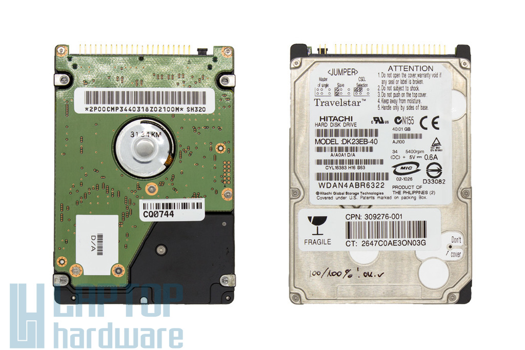 40GB 5400RPM 2,5'' IDE (PATA, Ultra ATA/100) használt laptop winchester, HDD