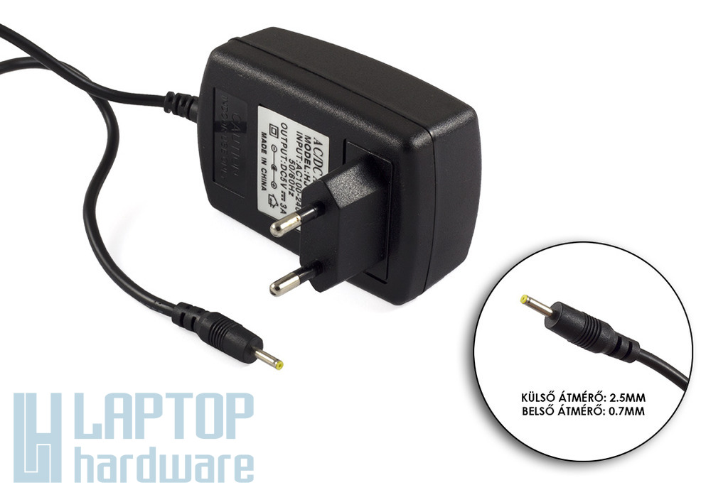 5V 3A 15W 2.5mm/0.7mm helyettesítő tablet töltő