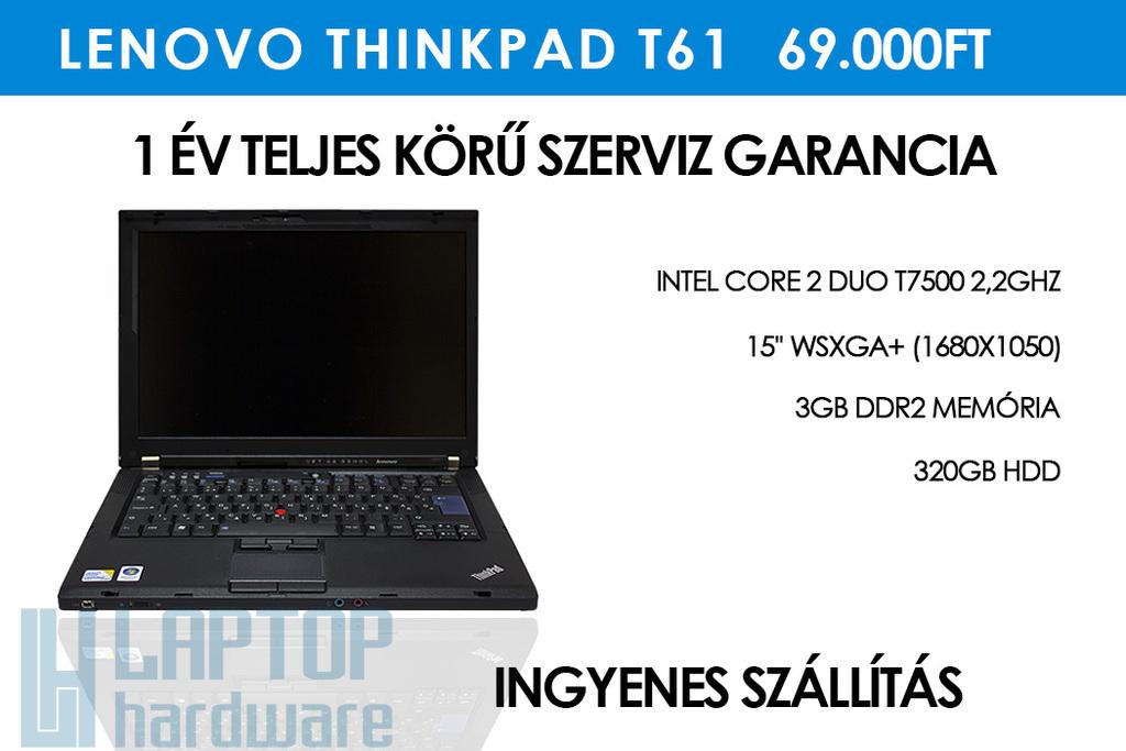Lenovo ThinkPad T61 használt laptop 3GB DDR2 RAM | 320GB HDD | Wi-Fi | Kártyaolvasó