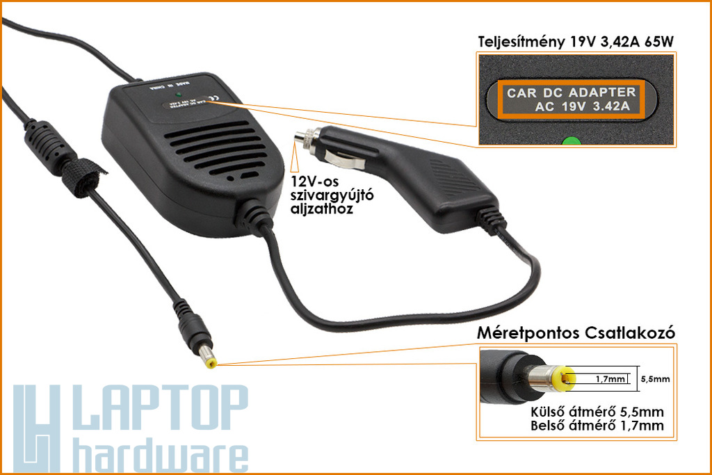 Acer 19V 3.42A 65W helyettesítő új autós laptop töltő (LC.ADT01.006, PA-1700-02)