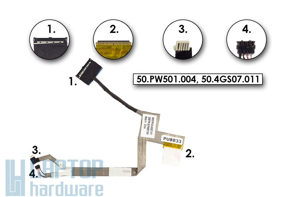 Acer Aspire 1430, 1830, Aspire One 721, 753 gyári új LCD kijelző kábel, 50.PW501.004