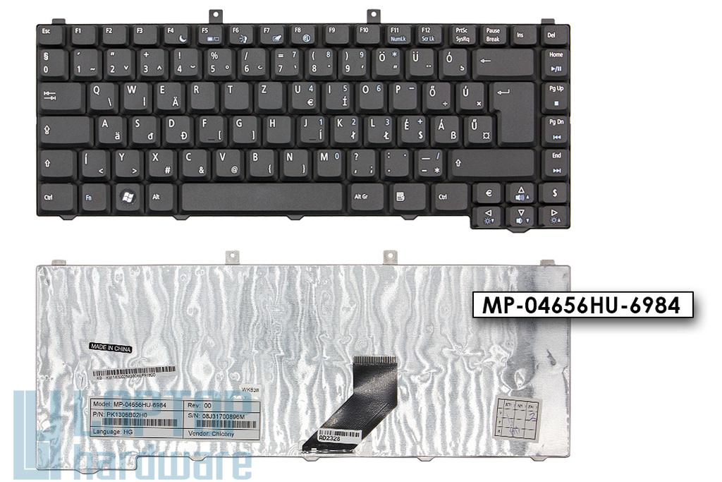 Acer Aspire 1670, 3100, 5515 eMachines E620 gyári új magyar matt fekete laptop billentyűzet (PK1306B02H0, MP-04656HU-6984, KB.I1400.025)