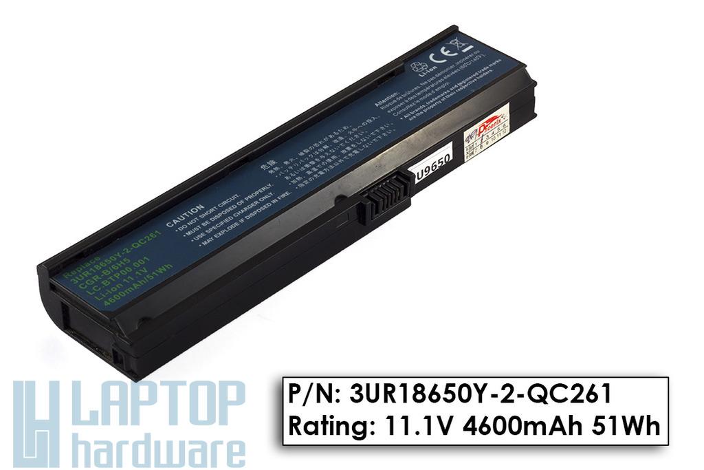 Acer Aspire 3030, 5550, Travelmate 4310 használt helyettesítő 6 cellás laptop akku/akkumulátor 75%-os (3UR18650Y-2-QC261)