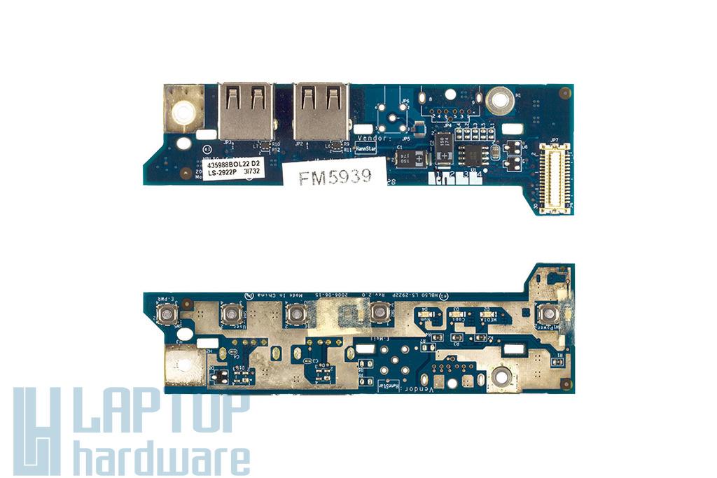 Acer Aspire 3100, 5100, 5630 használt bekapcsoló panel, power button board, LS-2922P