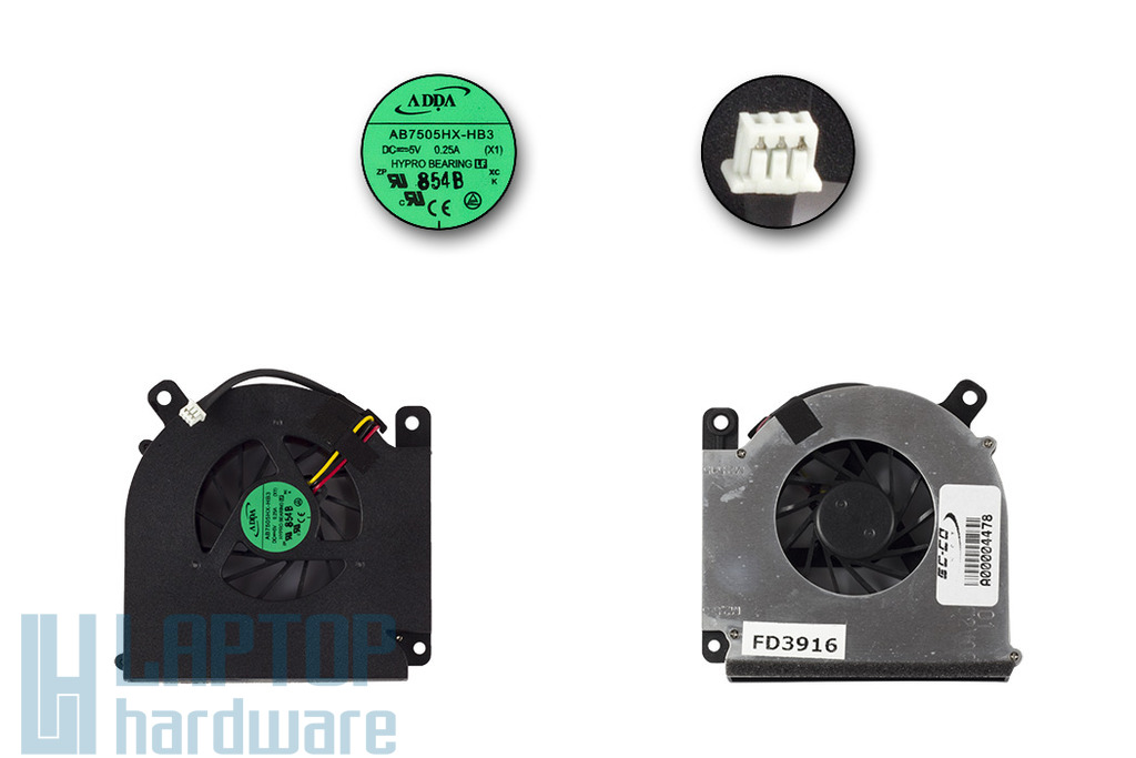 Acer Aspire 3690, 5610, Travelmate 2490, 4200 gyári új laptop hűtő ventilátor, AB7505HX-HB3, 23.TAVV5.004