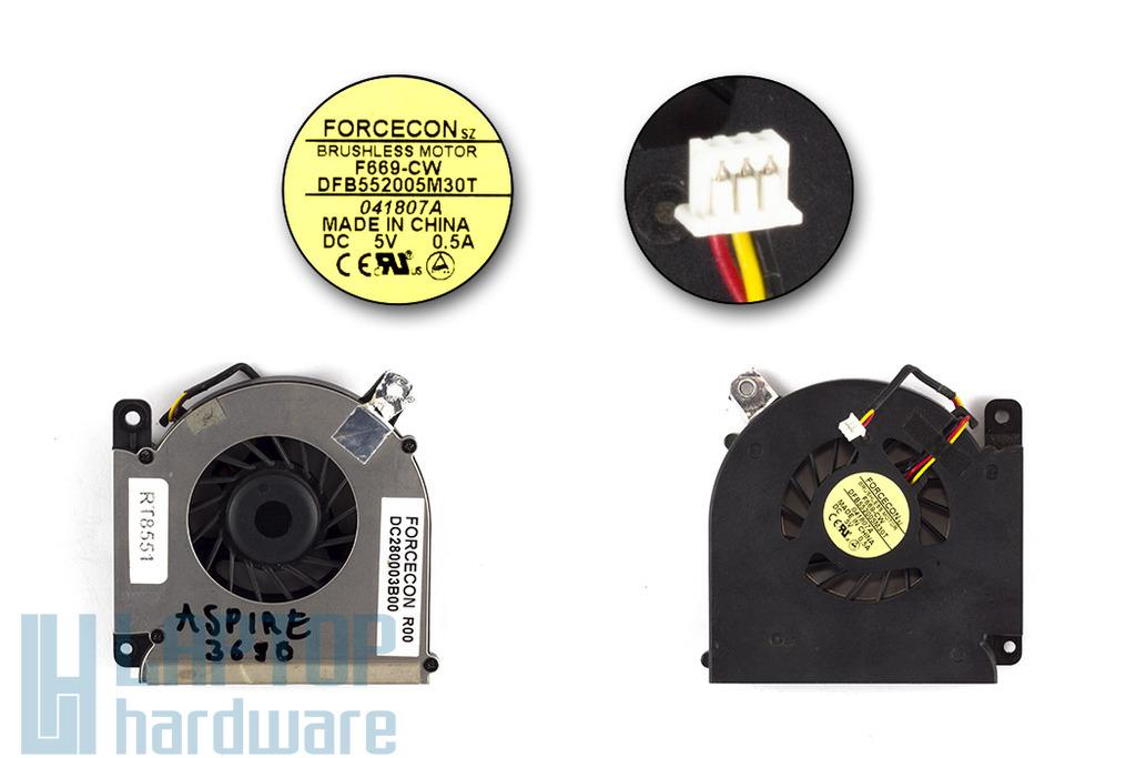 Acer Aspire 3690, 5610, Travelmate 2490, 4200 használt laptop hűtő ventilátor (DC280003B00)