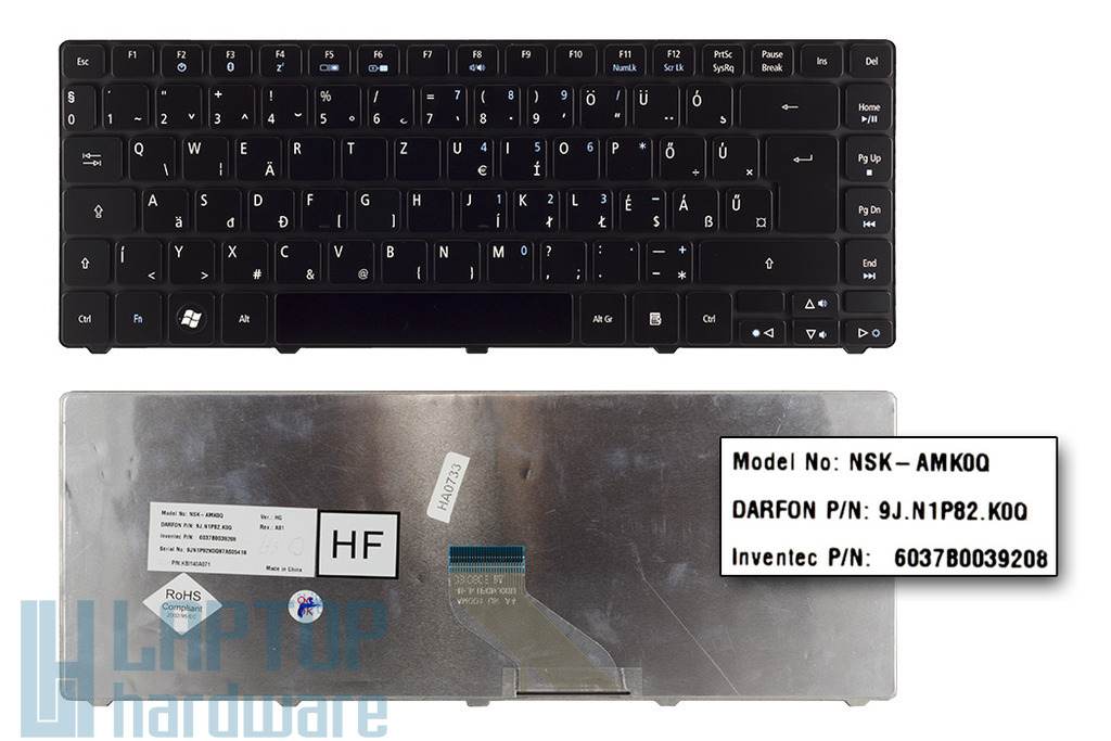 Acer Aspire 4235, 4240, 4740 gyári új magyar fényes fekete laptop billentyűzet (KB.I140A.071)