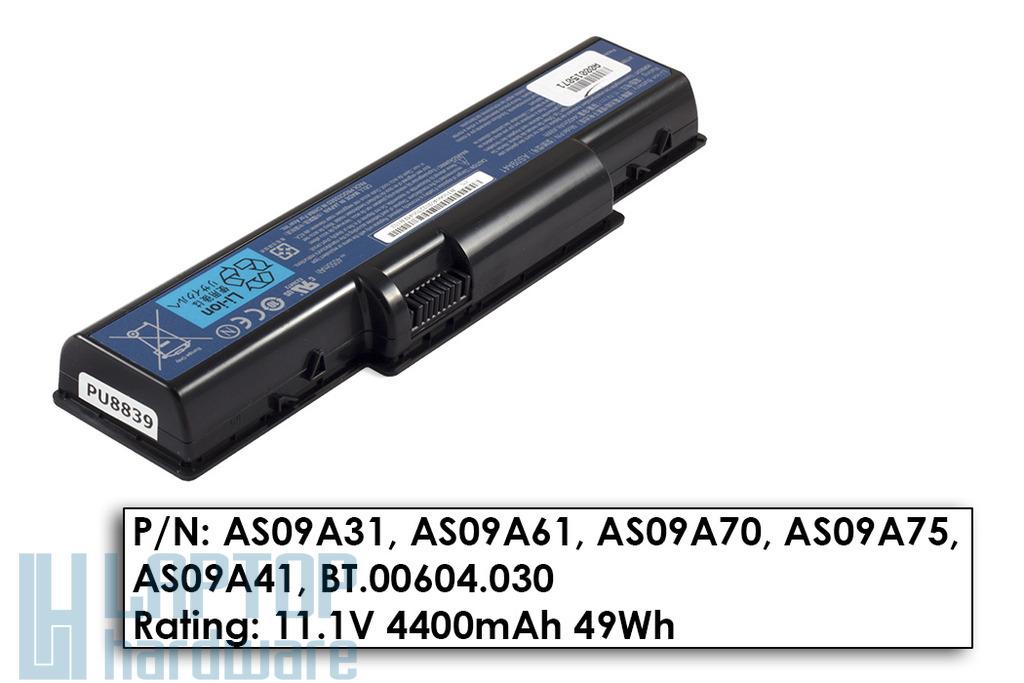 Acer Aspire 4732, 5332, eMachines D525 gyári új 6 cellás laptop akku/akkumulátor  AS09A41