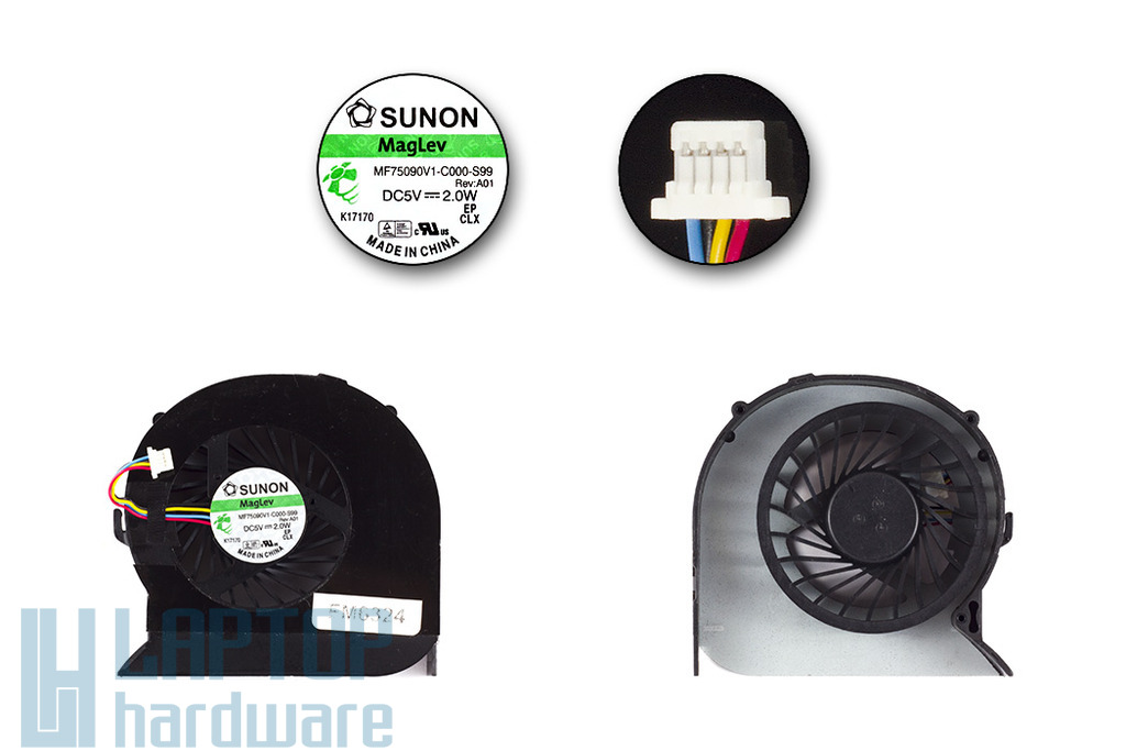 Acer Aspire 4743, 4750, 4755 laptop hűtő ventilátor, MF75090V1-C000-S99