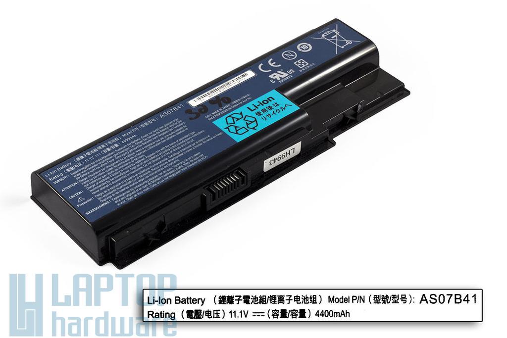 Acer Aspire 5220, 5500, Travelmate 7230 használt 6 cellás 25%-os laptop akku/akkumulátor (AS07B41)